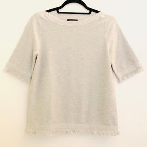 Ann Taylor Gray Boat Neck Fringe Top- Like New!